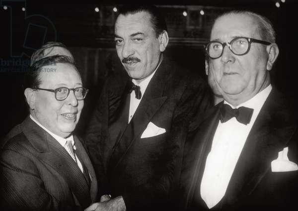 Giovanni Titta Rosa, Alberto Mondadori and Salvator Gotta, 1955 (b/w photo)