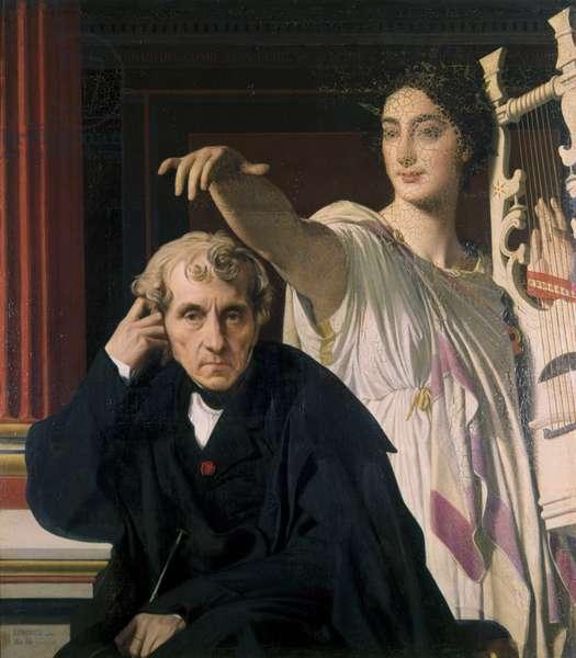 Luigi Cherubini and the Muse of the Lyric Poetry (Luigi Cherubini et la Muse de la Poésie Lyrique), by Jean Auguste Dominique Ingres, 1841-1842, 19th Century, oil on canvas, 105 x 94 cm