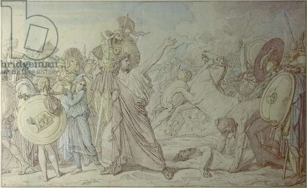Romulus, winner of Acrone, brings to the Temple of Jupiter the weapons of the defeated (Romulus,vainqueur d'Acron,porte les dépouilles opimes au temple de Jupiter), by Jean Auguste Dominique Ingres, 1812, 19th Century, ink and gouache on paper, 31 x 50,7