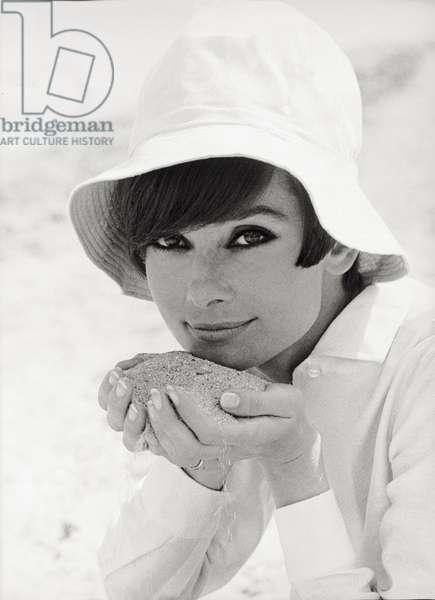 Portrait of Audrey Hepburn (b/w photo)