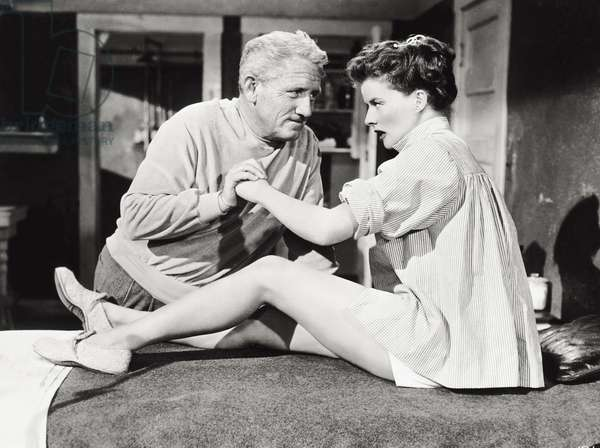 Spencer Tracy and Katharine Hepburn from the movie 'Pat and Mike', 1952 (b/w photo)