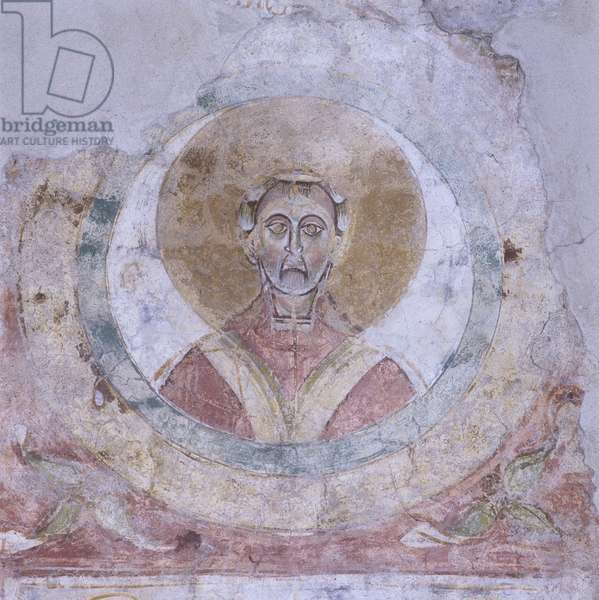 Head of a Saint in a Circle, by Unknown Artist, 11th Century, fresco