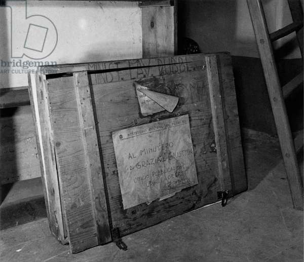 Case containing documents in a room of the Central Archives of the State, Rome, Italy