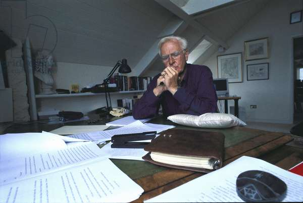 John le Carré in the study of his villa, United Kingdom, 1990 (photo)