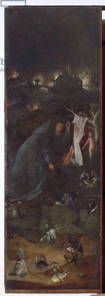 Hermit Saints Triptych, detail of the right panel with Saint Giles praying in a grotto, c.1493 (oil on panel)
