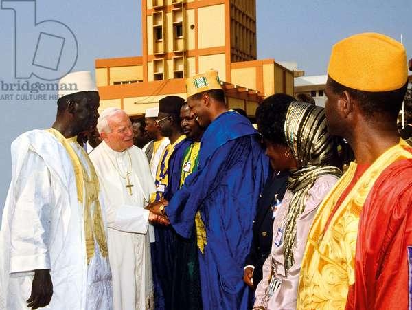Pope John Paul II and Lansana Conté, Conakry, Guinea