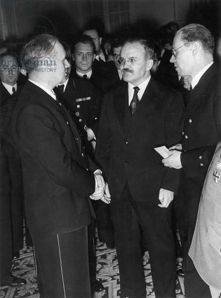 Von Ribbentrop, Molotov and Hilger during a reception at the Kaiserhof
