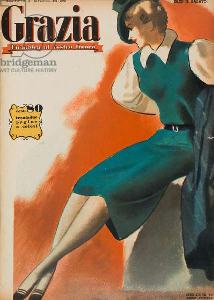 Cover of the women's magazine Grazia, Sketch with elegant green and white dress, February 1939 (b/w photo)