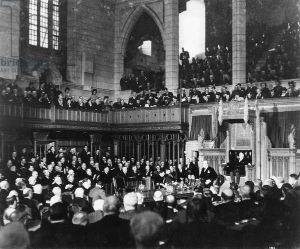 Winston Churchill speaking to the Canadian Parliament, Ottawa, Canada