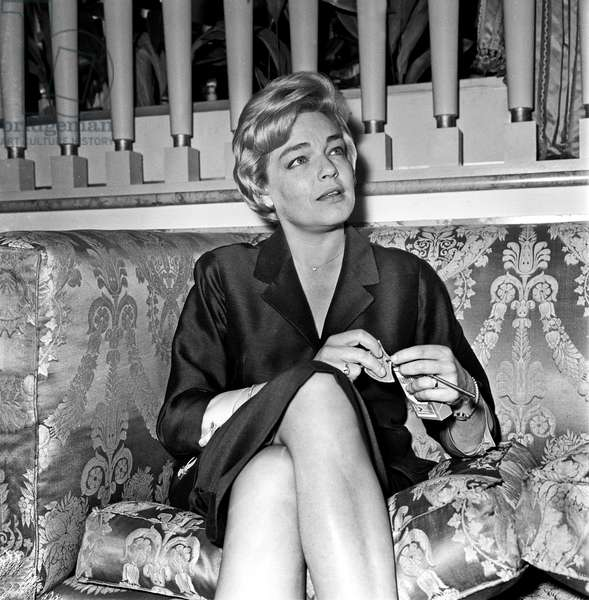 Simone Signoret during a press conference, Rome, Italy, 1960 (b/w photo)