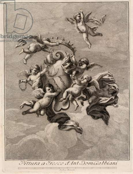 Puttoes in the sky, 17th century (engraving)