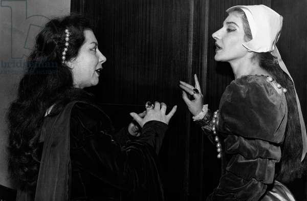Giulietta Simionato and Maria Callas in the backstage, 1958 (b/w photo)