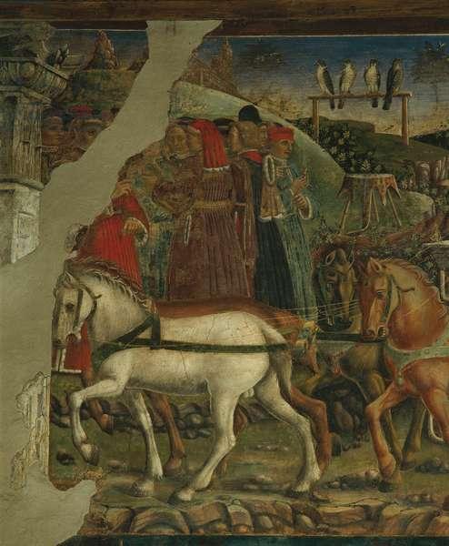 Allegory of May: Triumph of Apollo (Mese di Maggio: Trionfo di Apollo), by Francesco del Cossa, 1469 - 1470, 15th Century, fresco