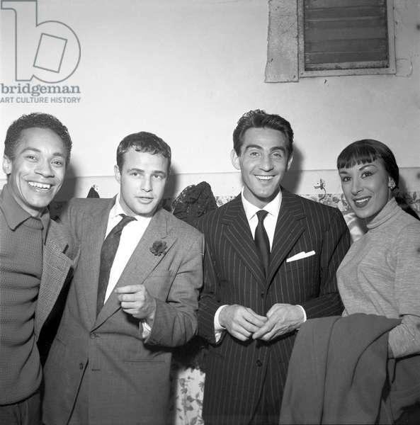 Marlon Brando with Walter Chiari and Julie Robinson at Sistina Theatre, 1954 (b/w photo)