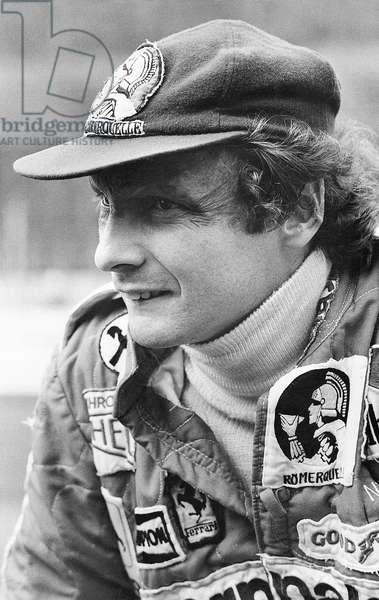 Niki Lauda wearing a sport suit