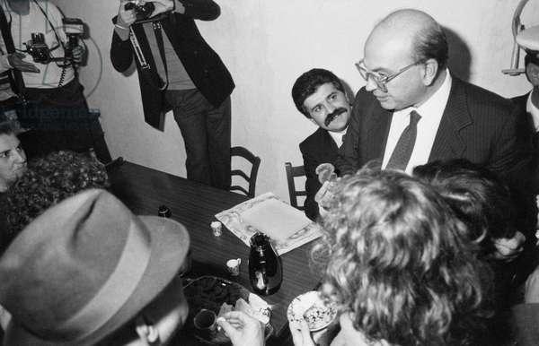 Bettino Craxi meeting Bendetto Manasseri