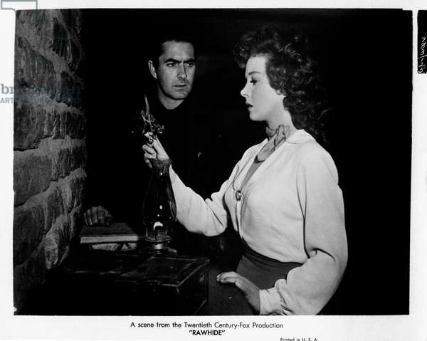 Tyrone Power and Susan Hayward in 'Rawhide', 1951 (b/w photo)