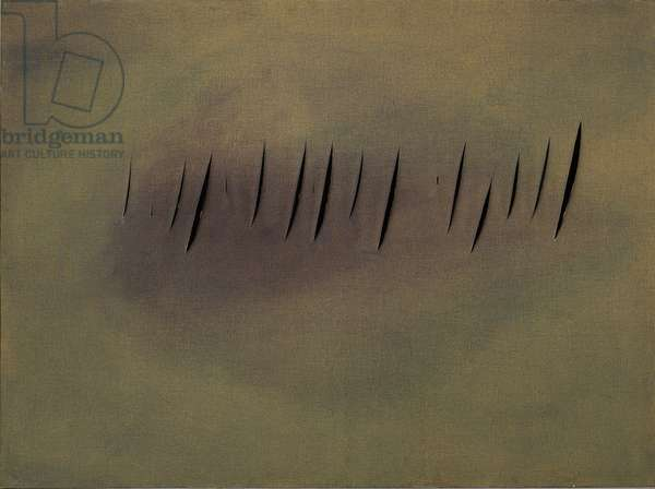 Spatial Concept. Expectations (Concetto spaziale. Attese), by Lucio Fontana, 1959, 20th Century, aniline, cuts and holes on canvas, 97 x 130 cm
