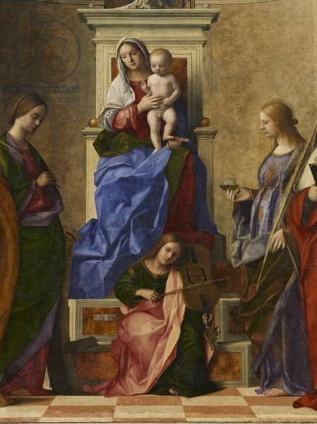 Madonna and Child on a throne among Saint Peter, Saint Catherine of Alexandria, Saint Lucy and Saint Girolamus - Altar piece of Saint Zaccaria, by Giovanni Bellini, 1505, 16th Century, canvas, 500 x 235 cm
