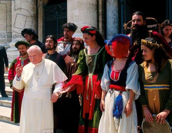 Pope John Paul II with the Chilean band Calenda Maia, Vatican City, Vatican City State