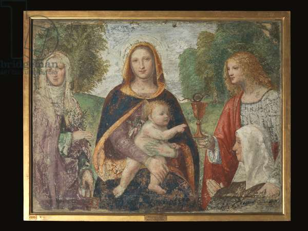 Madonna with the Child St Martha St John the Evangelist (fresco transferred to panel)
