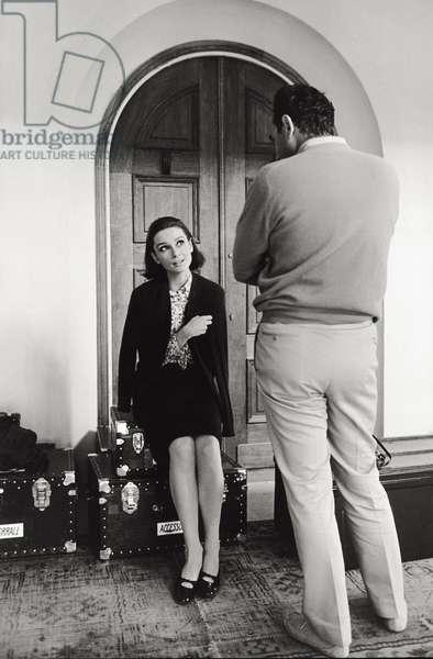Audrey Hepburn and Stanley Donen (b/w photo)
