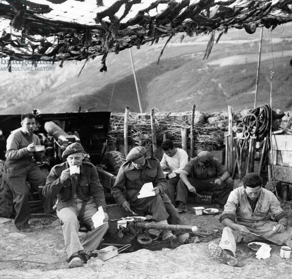 Consuming rations in an artillery position