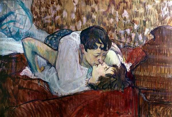 The kiss (Le baiser), by Henri de Toulouse-Lautrec, 1892, 19th Century (oil on canvas), 39 x 58 cm