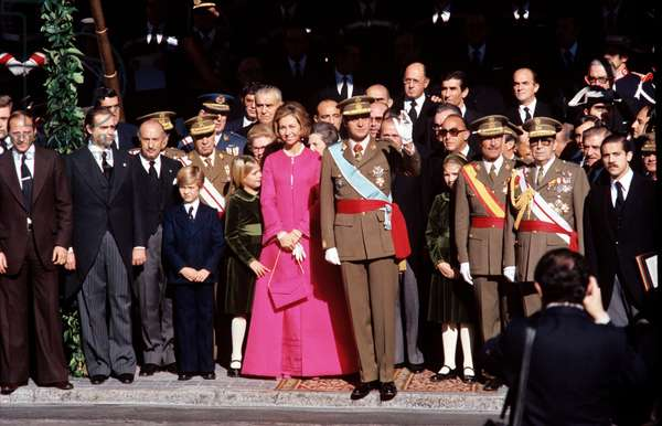 Juan Carlos I is greeting as new King of Spain, with Sofia of Greece and their children, Madrid, Spain