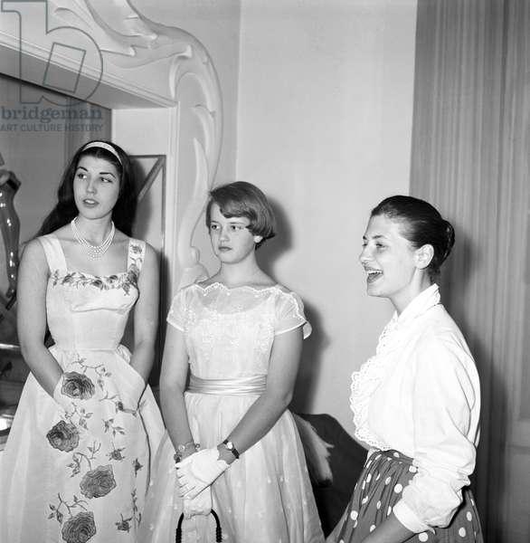 Patrizia De Blanck and Barbara Grant Sherry, Italy, 1958 (b/w photo)
