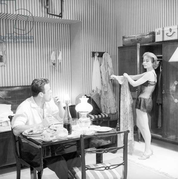 Renato Salvatori and Annie Girardot in Rocco and His Brothers (b/w photo)