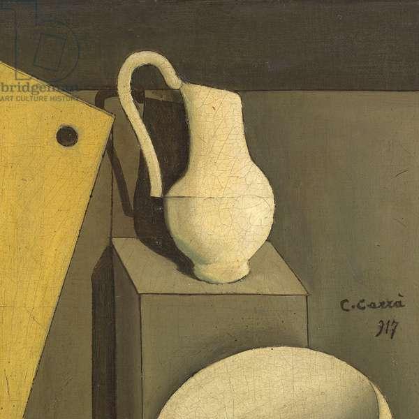 Still life with the set square (Natura morta con la squadra), by Carlo Carrà, 1917, 20th Century, oil on canvas, 46 ? 61 cm