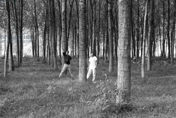 Bernardo Bertolucci in The Spider's Stratagem, Italy, 1970 (b/w photo)