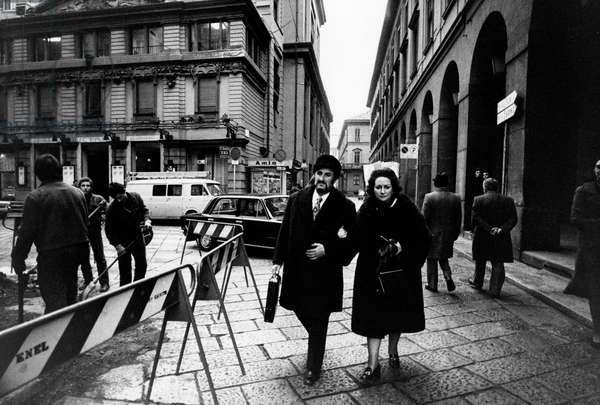 Montserrat Caballé with Bernabé Marti, 1975 (b/w photo)