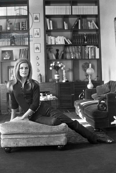 Dalida in her house, France, 1968 (b/w photo)