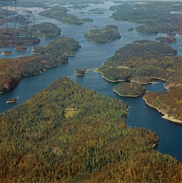 Aerial view of some islets in a Finnish lake, Finland, 1960s (b/w photo)