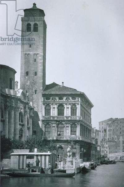 View of Palazzo Labia and the church of San Geremia (b/w photo)