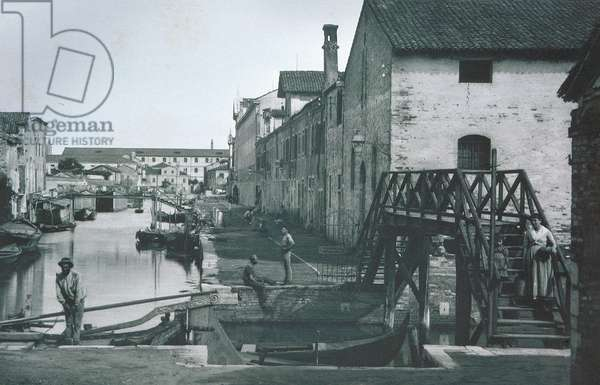 View of a canal (b/w photo)