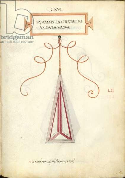 De Divina Proportione, Figure LII, sheet 116 recto: Solid polygonal trinagular pyramid, Pyramis laterata triangvla solida