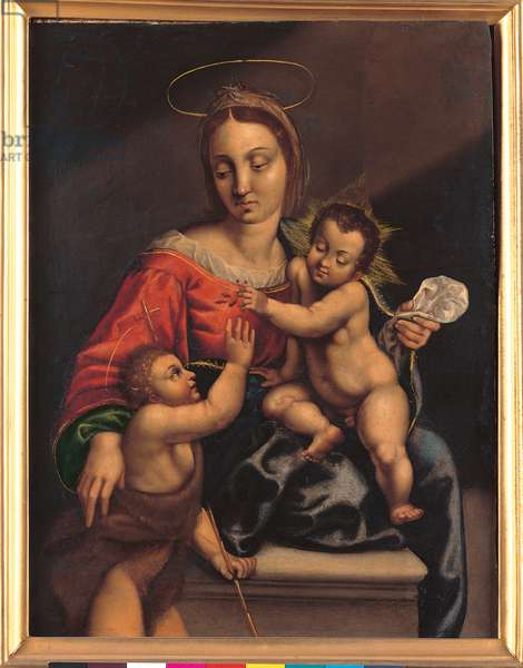 Madonna with Child and the Infant Saint John the Baptist (oil on copper)