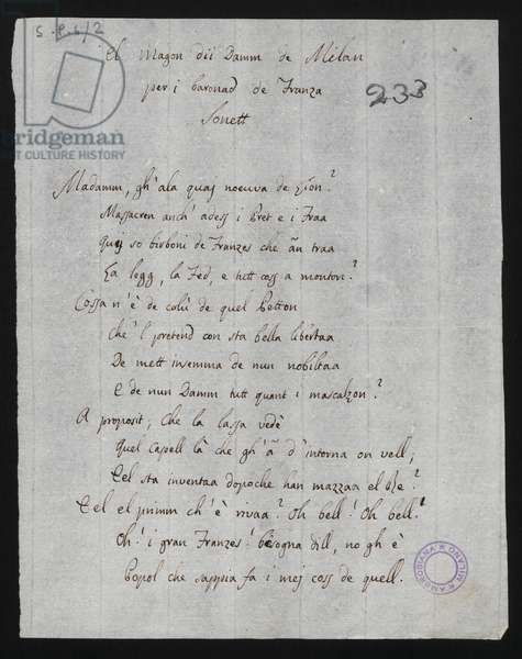 Mafrommm gh'ala, poem from Odi e Poesie Varie, 18th century (pen & ink on paper)
