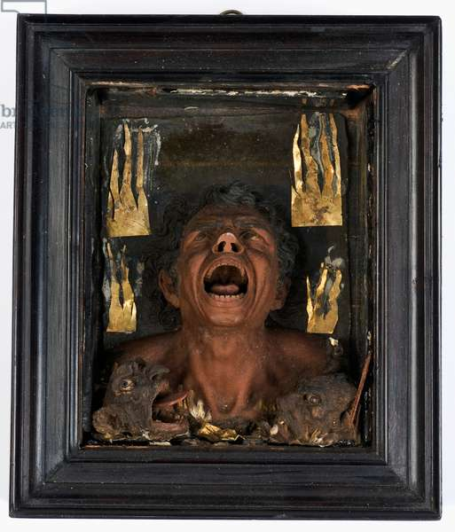The Damned Soul, 1600-10 (glass,gold foil,polychrome wax & wood)