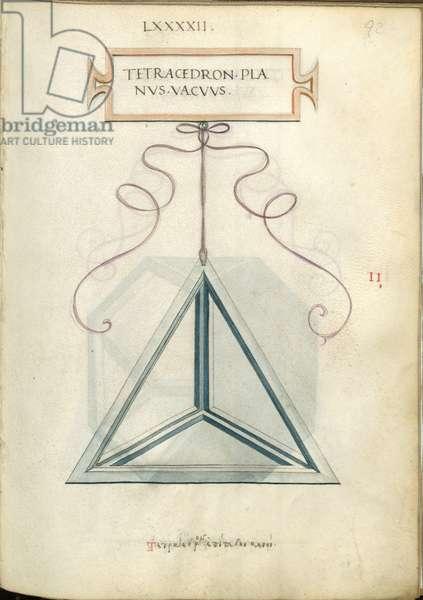 De Divina Proportione, Figure II, sheet 92 recto: Empty perpendicular tetrahedron, pyramid, Tetracedron planvs vacvvs