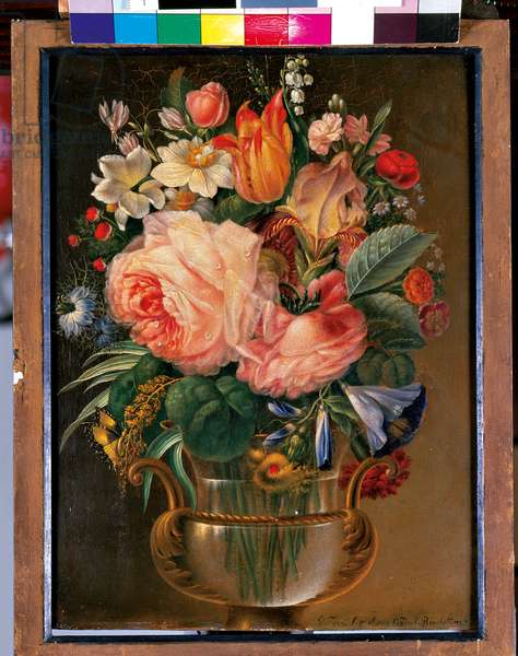 Cup of Flowers with Butterfly, 1848 (tempera on panel)