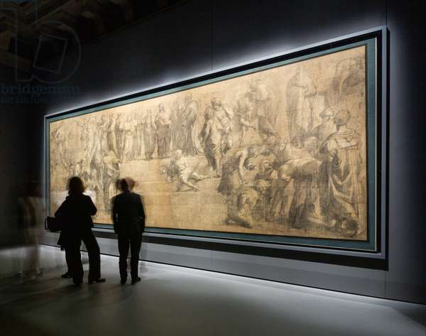 The new display for the preparatory cartoon of the School of Athens by Raphael after restoration, made by Stefano Boeri Architetti Studio at the Pinacoteca Ambrosiana. Milan (Italy), 25th March 2019 (photo)
