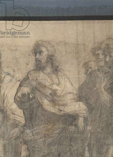 Aristotle (Bastiano da Sangallo) and Aristotele' students, detail of the preparatory cartoon for The School of Athens, 1510 (charcoal and white lead)