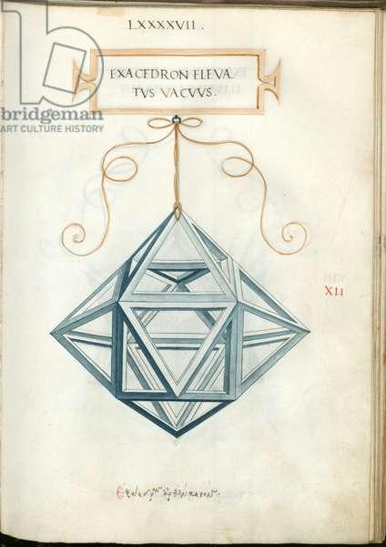De Divina Proportione, Figure XII, sheet 97 recto: Elevated empty hexahedron, cube, Exacedron elevatvs vacvvs