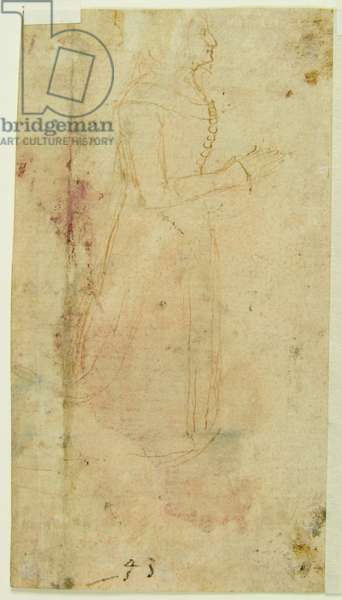 Drawing of Woman in typical late 14th century clothes Kneeling in Prayer