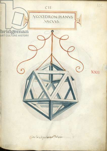 De Divina Proportione, Figure XXII, sheet 102 recto: Perpendicular empty icosahedron, Ycocedron planvs vacvvs