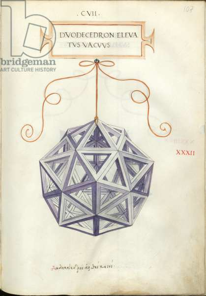 De Divina Proportione, Figure XXXII, sheet 107 recto: Elevated empty dodecahedron, Dvodecedron elevatvs vacvvs